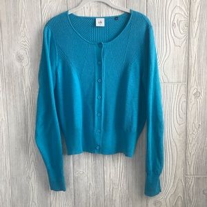 Cabi Turquoise Blue Darby Knit Cardigan Sweater M